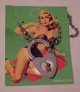 Pin up girl on phone heart shaped necklace (Image1)