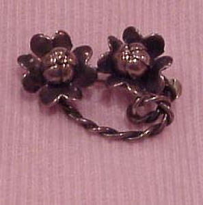 wrought sterling flower pin (Image1)