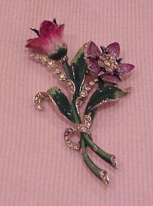 Mazer enamel and rhinestone flower pin (Image1)