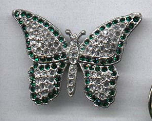 Pot metal and rhinestone butterfly pin (Image1)