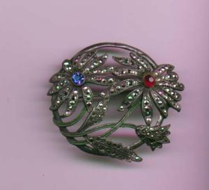 Pot metal and enamel floral pin with marcasites and red and blue rhinestone (Image1)