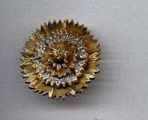 Nettie Rosenstein 3d flower pin w/rhinestones (Image1)