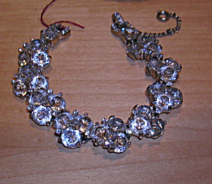 open back faceted glass bracelet with rhinest (Image1)