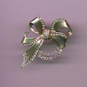 Sterling vermeil bow pin with rhinestones (Image1)