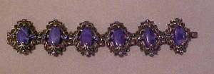Chunky silvertone bracelet w/glass & rhinesto (Image1)