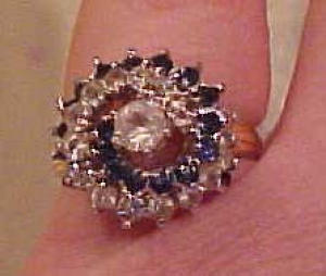 faux diampond and sapphire cocktail ring (Image1)