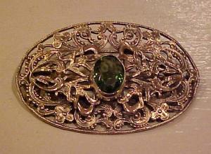 Art Nouveau sash pin w/peridot glass (Image1)