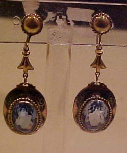 Czechoslovakian brass & blue glass earrings (Image1)
