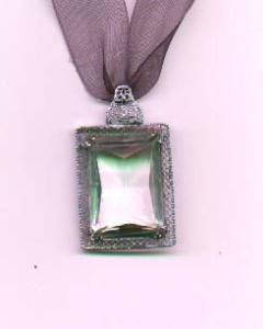 Art Deco Crystal pendant in filligree setting on a ribbon (Image1)