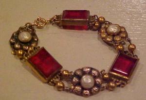 Czechoslovakian red glass & pearl bracelet (Image1)