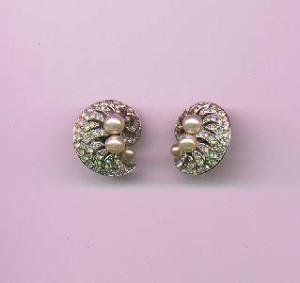 Trifari faux pearl and rhinestone earrings (Image1)