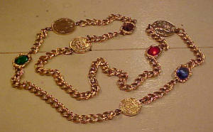 Goldtone medallion necklace with rhinestones (Image1)