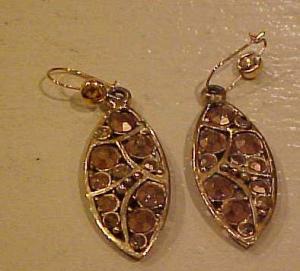 Hollycraft gold rhinestone dangling earrings (Image1)