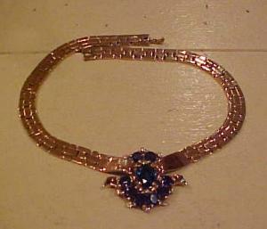 Trifari Sapphire & Rhinestone Retro necklace (Image1)