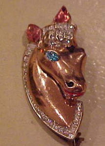 Sterling Vermeil Corocraft Horsehead pin (Image1)