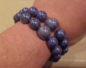 Iridescent blue glass bead bracelet (Image1)