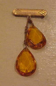Czechoslovakian Topaz glass dangling pin (Image1)