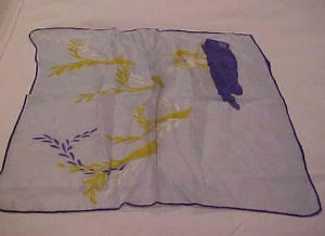Blue silk handkerchief with animals (Image1)