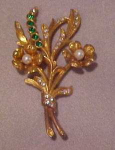 1930's flower pin w/faux pearls & rhinestones (Image1)