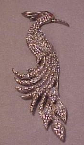 Rhinestone art deco bird of paradise pin (Image1)