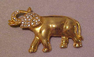1940's elephant pin with rhinestones (Image1)