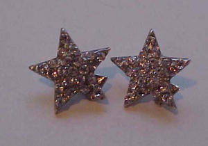 Pot metal and rhinestone star earrings (Image1)