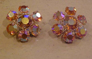Orange Aurora Borealis rhinestone earrings (Image1)
