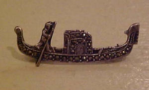 Sterling silver pin w/marcasites gondola (Image1)