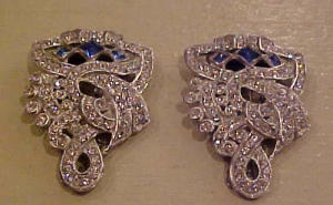 Art deco dress clips blue & clear rhinestones (Image1)