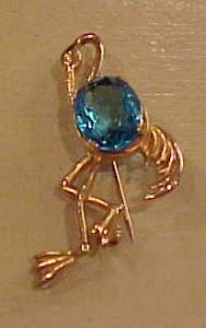 Stork pin with blue rhinestone belly (Image1)