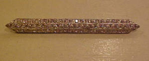 Pot metal and rhinestone bar pin (Image1)
