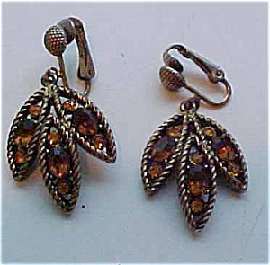 Hollycraft topaz rhinestone earrings (Image1)