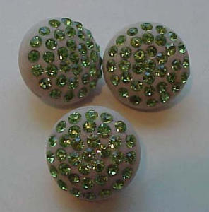 3 buttons with green rhinestones (Image1)