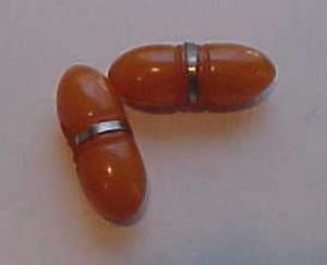 2 butterscotch bakelite bullet shaped buttons (Image1)