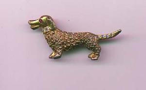 Dog pin with aurora borealis and red rhinestones (Image1)