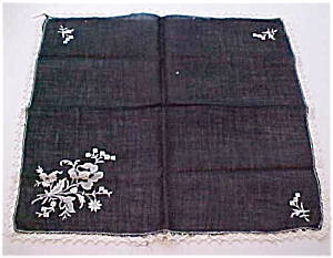 Black handkerchief with flowers and lace (Image1)