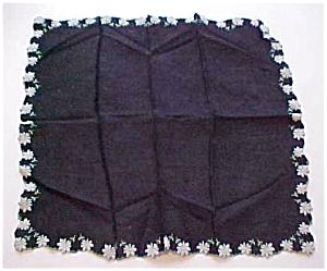 Black handkerchief w/blue daisy edges (Image1)