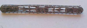 Sterling Art Deco bar pin with rhinestones (Image1)