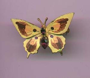 Czechoslovakian handpainted butterfly pin with rhinestones (Image1)