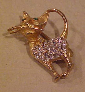 Alice Caviness Cat pin with rhinestones (Image1)
