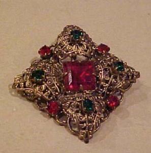 Czechoslovakian brooch with rhinestones (Image1)