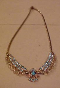 Coro goldtone necklace w/lt blue rhinestones (Image1)