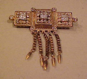 Coro brooch w/dangles and rhinestones (Image1)