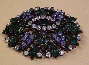 Multicolored rhinestone pin blue green (Image1)
