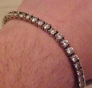 Sterling tennis bracelet with rhinestones (Image1)