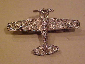 Rhinestone airplane pin (Image1)