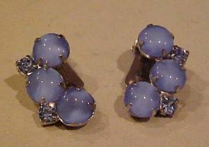 Blue cabochon & Rhinestone earrings (Image1)