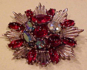 Red & AB rhinestone Medallian Style Pin (Image1)