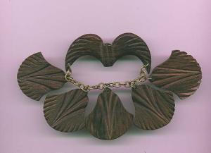 Wood pin with dangling charms (Image1)
