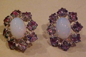 AB rhinestone and cabochon earrings (Image1)